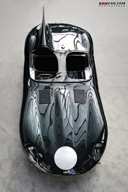 Le Mans Jaguar D Type top view black shiny smooth race vintage exterior sexy hood english charm sport curve long reflections convertible