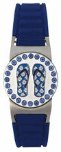 Women's Golf Gifts. This Magnetic Golf Ball Marker Bracelet has an adjustable blue silicon strap with a fold over buckle clasp, and comes with a detachable Bling Blue Flip Flops ball marker.