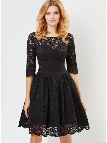 Sukienka w kolorze czarnym #koronka # 3/4 rękaw