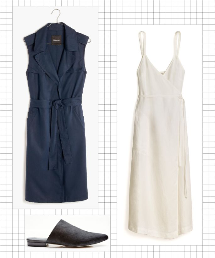 5 Easy Office Uniforms for the Busy Working Woman - Waistcoat + Strappy Dress + Mules from InStyle.com