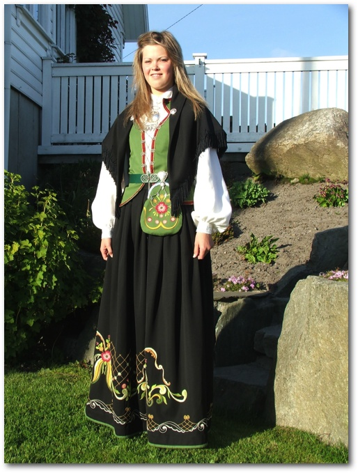 Karmøy in Rogaland  This must be the bunad (traditional costume) on Karmoy Island, Rogaland, Norway. Very different from the Hallingdal bunad from the other side of Dad's family.