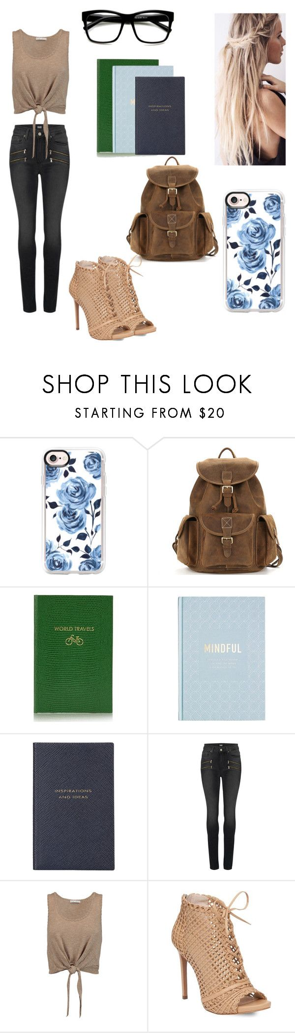 """""""School #6"""" by kendall-bostic ❤ liked on Polyvore featuring Casetify, Sloane Stationery, Smythson, Paige Denim, Alice + Olivia and Jessica Simpson"""