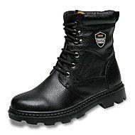 Herren+Schuhe+Echtes+Leder+Leder+Herbst+Winter+Springerstiefel+Stiefel+Booties+/+Stiefeletten+Niete+Für+Normal+Schwarz+–+EUR+€+46.52