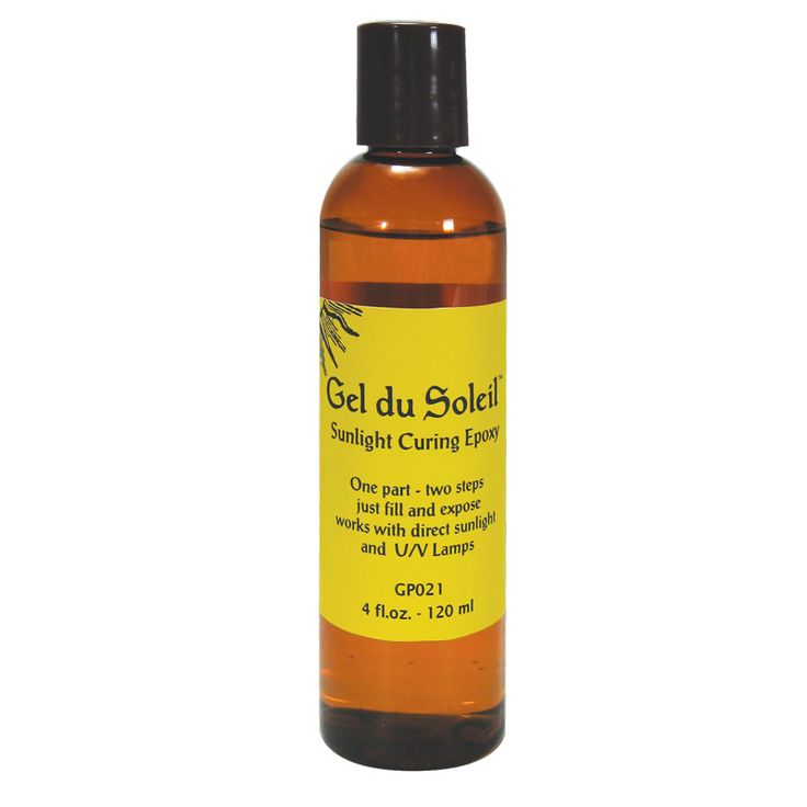 Gel du Soleil is a UV resin that cures within 20 minutes when exposed to UV light. The UV light can come from the natural sunlight, or from an artificial UV lamp. Gel du Soleil requires no mixing like a 2-Part Resin, so there is no waste. Gel du Soleil's strength lies in its speed, the ability to cure quickly and that it is waterproof.