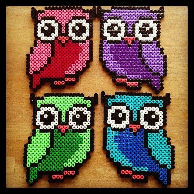 Colorful owls hama beads by tutluva
