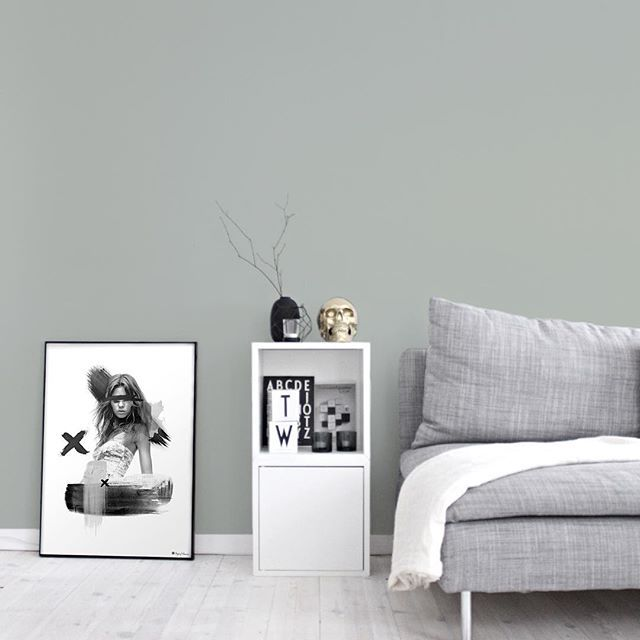Minty Breeze./ Getting more and more convinced to paint the livingroom in this color Love how it fits with the sofa and other interior details ---------- You can find the poster in our webshop