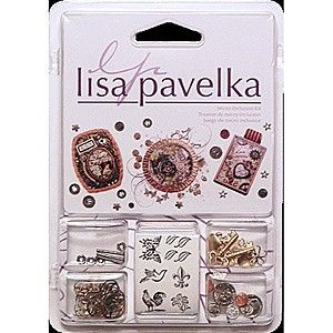 Lisa Pavelka Micro Inclusion Set    These little treasures are perfect for personalizing your artwork. This 5x3-1/2 inch package contains twelve charms, eight coins, four hex nuts, four screws, fourteen Tiny Tat images and .06 ounces of watch parts. Made in USA.  AU$19.50