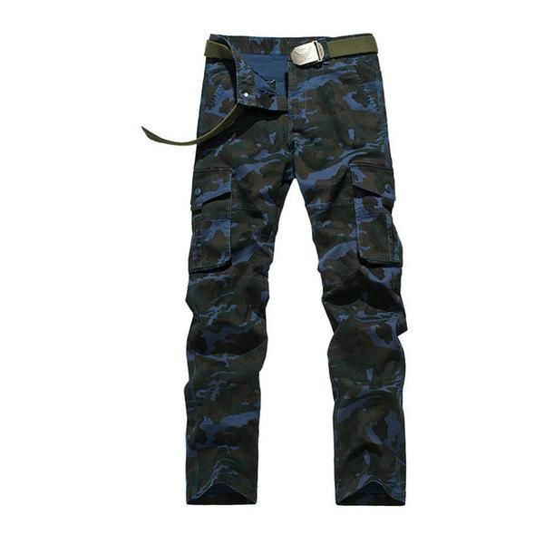 Men Elasticity Cargo Pants Casual  Cotton Multi Pockets Military Camouflage Pant