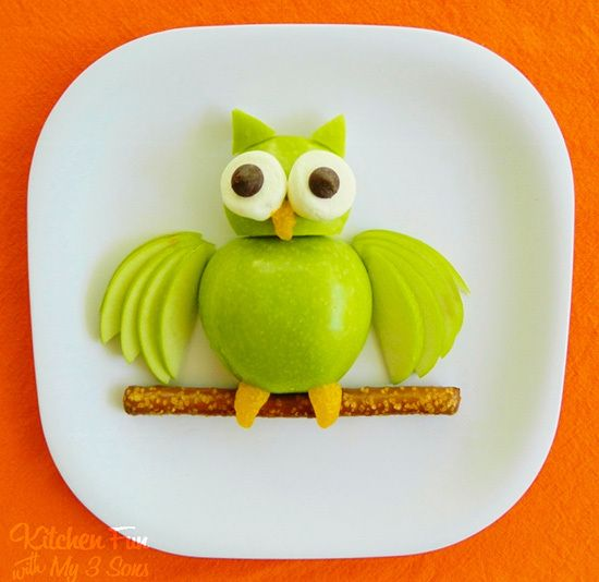 Granny Smith Apple Owl healthy kid snack