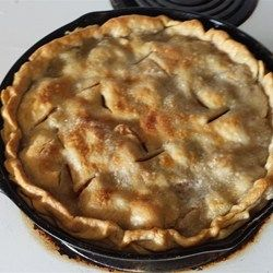 A modern version of an old-time favorite uses premade pie crusts to make this three-layer apple pie, baked in a cast iron skillet.