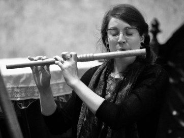 "Mara Winter (medieval transverse flute) during the performance of trobairitz music ""Lingua Materna"". Prague 2015. See more at www.motusharmonicus.cz"