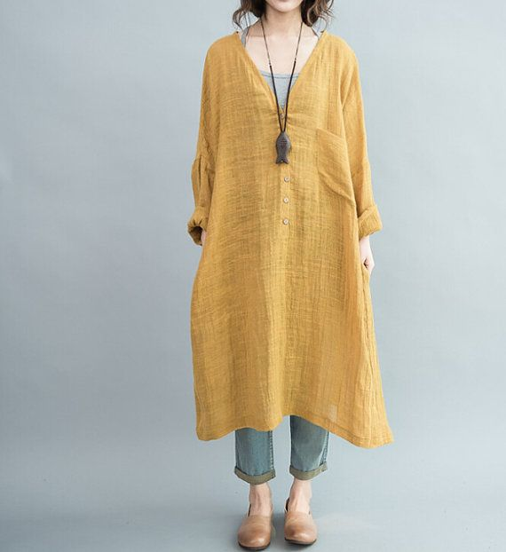 Loose Fitting Long dress Women oversize Loose dress in Yellow/ Blue