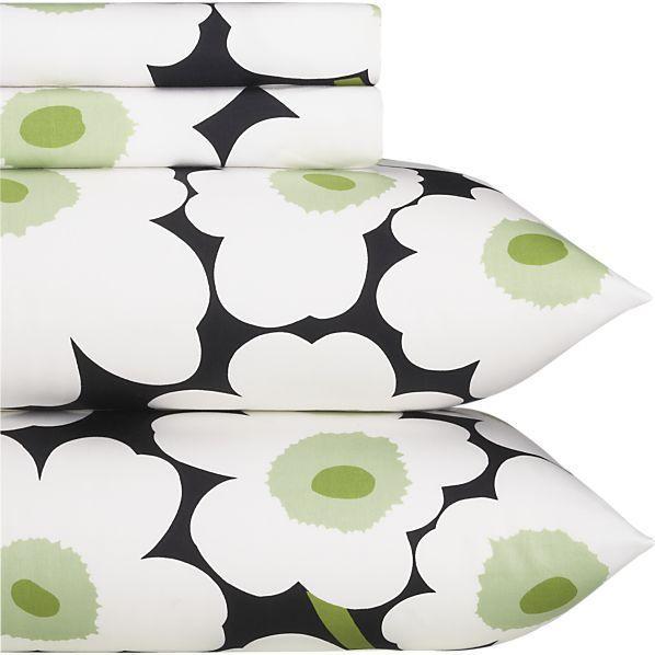 Marimekko Pieni Unikko Black Sheet Sets