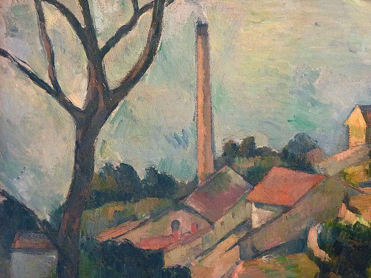 CEZANNE,1878-79 - Mer à l'Estaque, derrière les Arbres - Sea at l'Estaque (Musée Picasso) - Detail -c  -   Cézanne à Pissarro : « J'ai commencé deux petits motifs où il y a la mer, pour Monsieur Chocquet qui m'en avait parlé. – C'est comme une carte à jouer. Des toits rouges sur la mer bleue. Si le temps devient propice peut-être pourrais-je les pousser jusqu'au bout. En l'état je n'ai encore rien fait. » (L'Estaque, 2 juillet 1876)