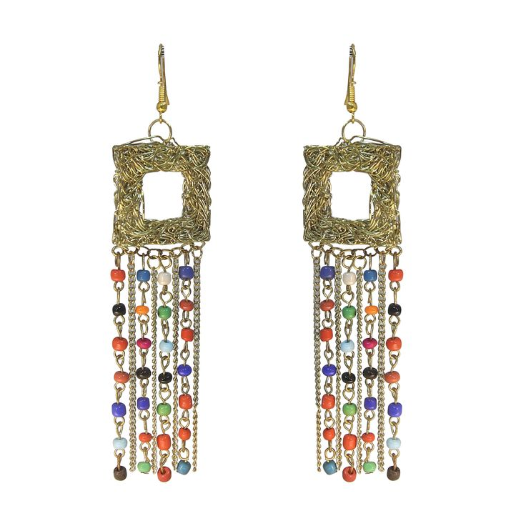 Beautiful #fashion #Jewelry Collection ! #MultiColor #beads #gold Chain with geometrical #Dangle ! Hook Back ! Latest #Bollywood #Fashion Collection ! #Celebrity #style !!!