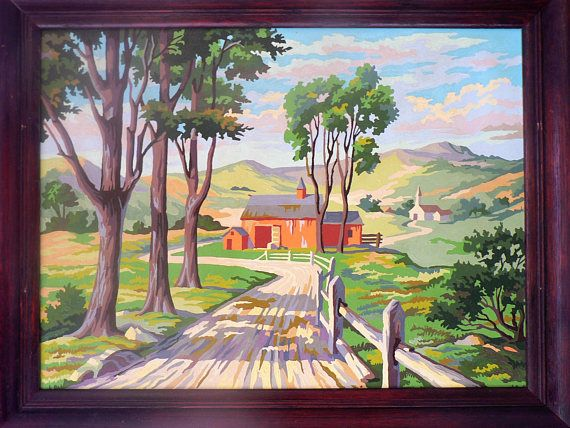 18 x 24 Large Vintage Paint By Numbers Oil Painting Red Barn