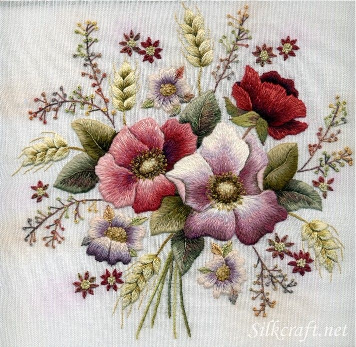 *EMBROIDERY ~ Embroidery Flower Stitches Ribbon embroidery combined