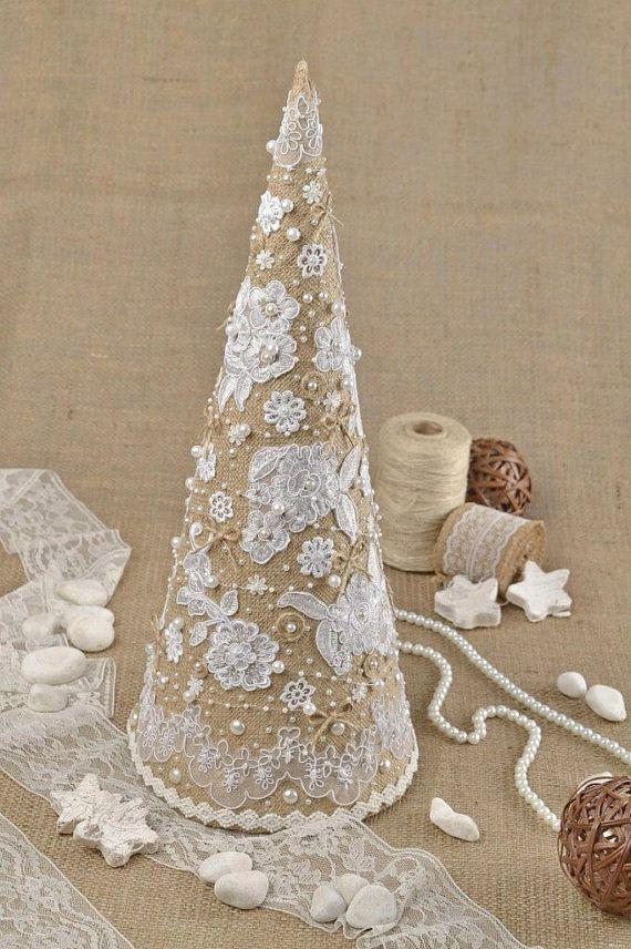 Shabby chic Natale albero Natale della tela da di KseniyaRevta