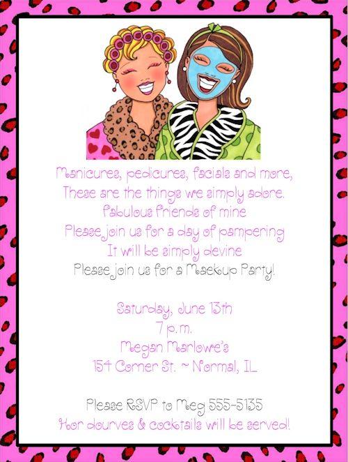 Girls Night Invitation Wording Makeover Makeup Ideas Pinterest