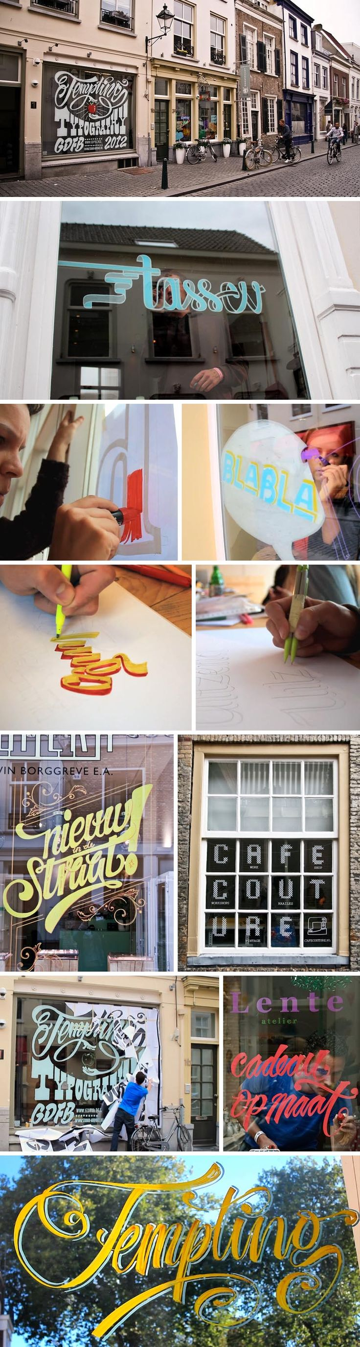 Here's a nice event that took place during the Graphic Design Festival in Breda, Netherlands. Design firm Studio AIRPORT held a three-day-long workshop called Tempting Typography based on window-typography.