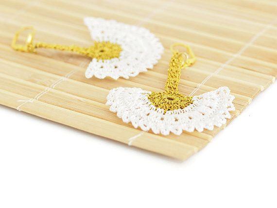 Boho Chic Bridal Dangle Earrings Crochet Lace in by PinaraDesign