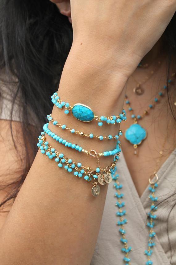 Turquoise bracelet, Boho Chic bracelet, Bohemian genuine gemstone,Turquoise bead cluster chain,beade