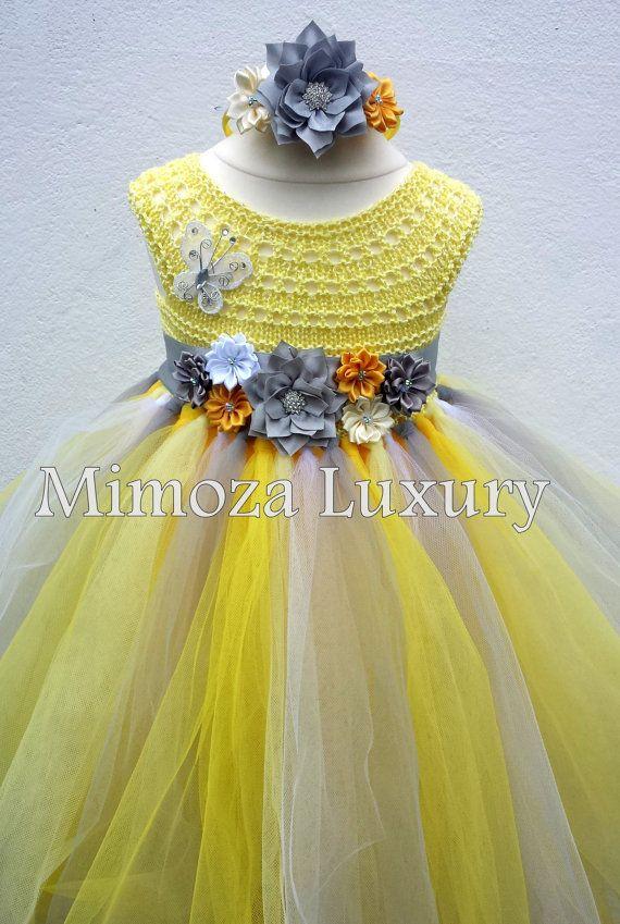 Giallo e grigio fiore vestito ragazza abito tutu di MimozaLuxury