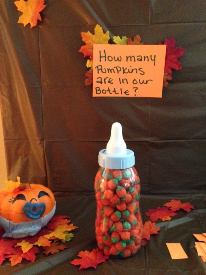 A silly shower game.  The bottle is a bank (that the LO can have) and it's filled with pumpkin candies.