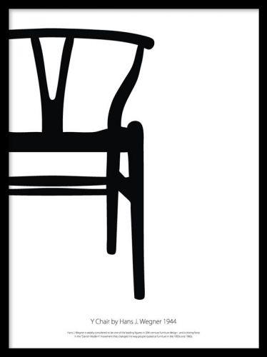 Y chair blackandwhite, posters Poster med designstol. Grafisk poster med den klassiske Y-stol af Hans J. Wegner. Stilrent skandinavisk design til at pryde væggen med.