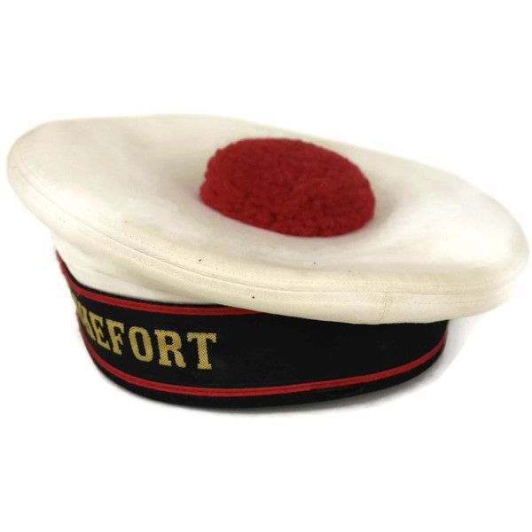 French Beret Sailor Hat with Red Pompom. Vintage French Navy Uniform. ($87) ❤ liked on Polyvore featuring accessories, hats, red beret, navy sailor hat, red beret hat, pompom hat and sailor hat