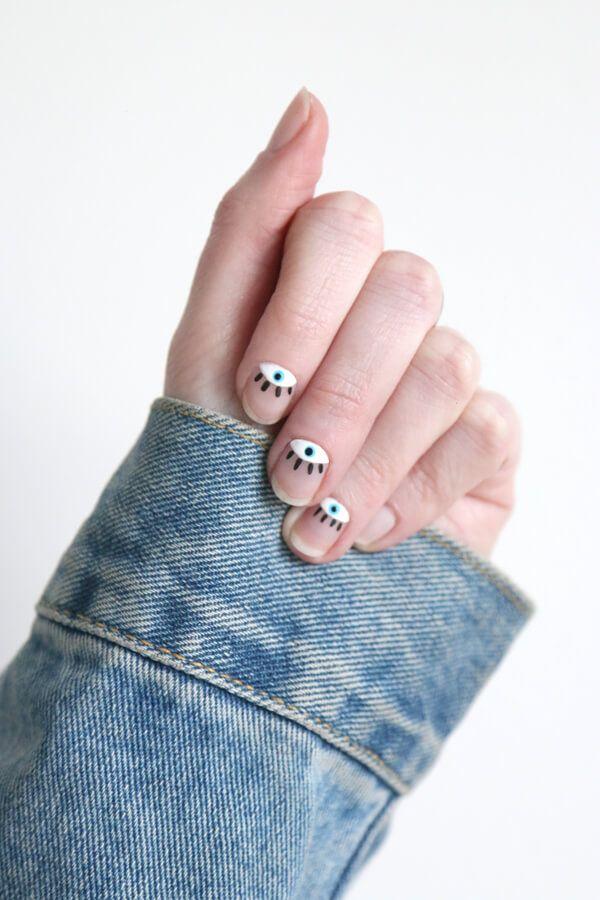 DIY art nail de ojos