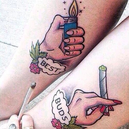 Colorful Best Buds Cigarette and Lighter Friendship Tattoos