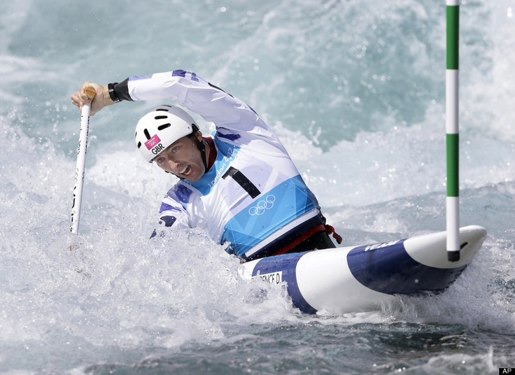 David Florence of #Britain competes in the heats of the C-1 men's canoe slalom at Lee Valley Whitewater Center, at the 2012 Summer #Olympics