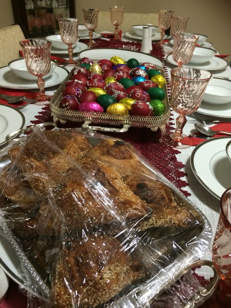 Cypriot Easter - Easter Saturday Dinner Table - ready to break the fast after midnight mass