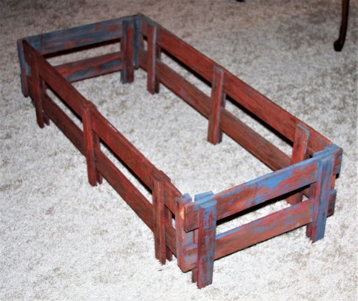 Vintage Painted Wood Pull Toy Wagon Side Rails 6 pieces (1 set + 2 extra)