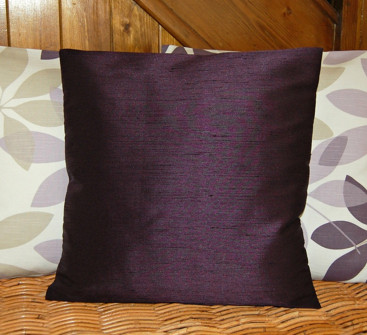 Dark Aubergine Accent Cushion Cover Faux Silk Plum