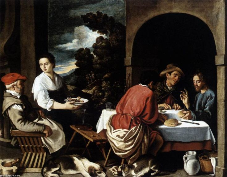 La cena de Emaús, óleo sobre lienzo de Pedro Orrente (1580-1645, Spain)