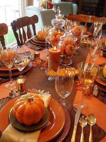 Fall Tablescape...Love the orange pumpkin soup bowls!!!  Halloween Monster