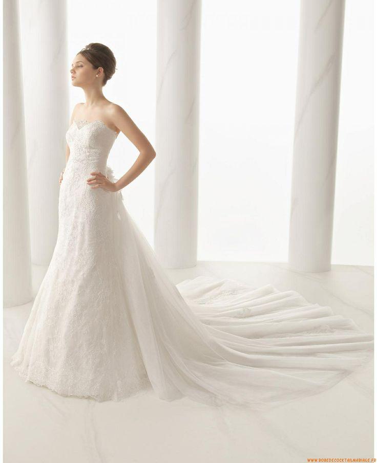 Robe de mariée évasée dentelle avec traine tulle amovible