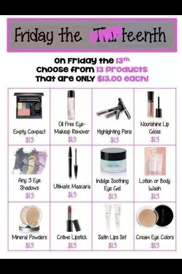 A great deal for Friday the 13th! Contact me for details and for placing orders if you do not already have a Mary Kay consultant! http://www.marykay.com/kadiehaefer