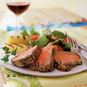 Go Lean with High-Protein Recipes    Beef Tenderloin with Mustard and Herbs   MyRecipes.com