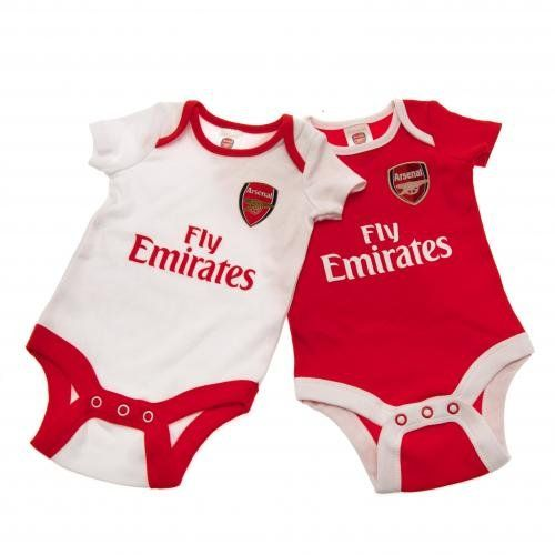 Arsenal F.c. 2 Pack Bodysuit 0/3 Mths Cp Official Merchandise
