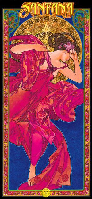 Vintage, retro, hippie, classic rock concert poster - Santana