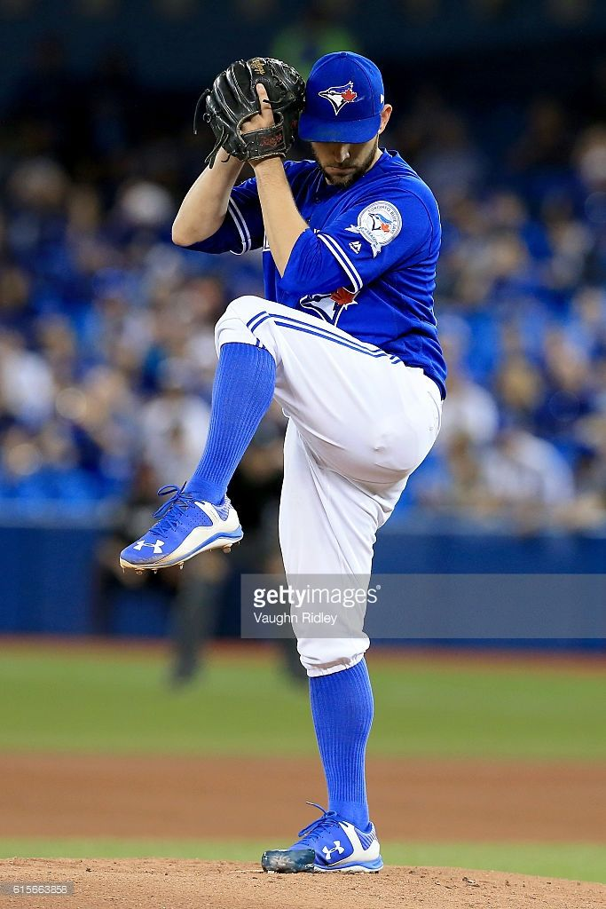 Marco Estrada #25 of the Toronto Blue Jays throws a pitch in the first inning against the Cleveland Indians during game five of the American League Championship Series at Rogers Centre on October 19, 2016 in Toronto, Canada.