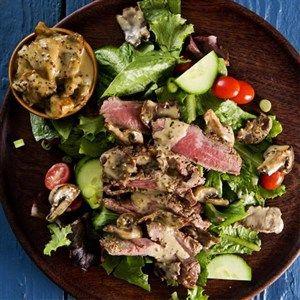 Biltong & mushroom steak salad.  Yum!