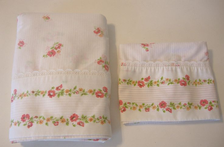 Sheet vintage Cannon Cotton Bed sheet full double bed size Pretty roses & Lace Set of sheet/pillowcase USA by flyingdollar on Etsy