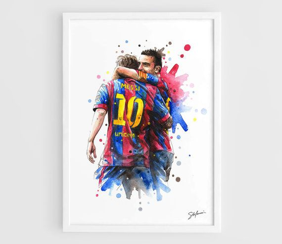 Lionel Messi & Xavi (Barcelona FC) - A3 Wall Art Print Poster of the Original Watercolor Painting Football Poster  by NazarArt