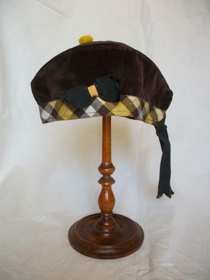 Quirky Antique Tartan Cap Hat c1910/20 Yellow & Brown Velvet, Glengarry Pom-pom