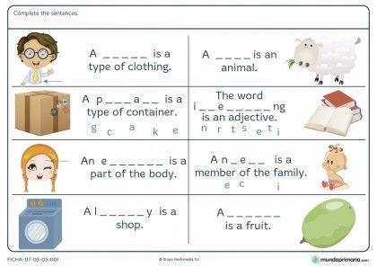 Ficha de encontrar palabras en inglés para primaria