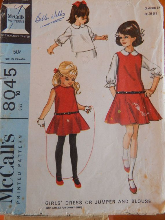 1960s Girls' Dress or Jumper and Blouse